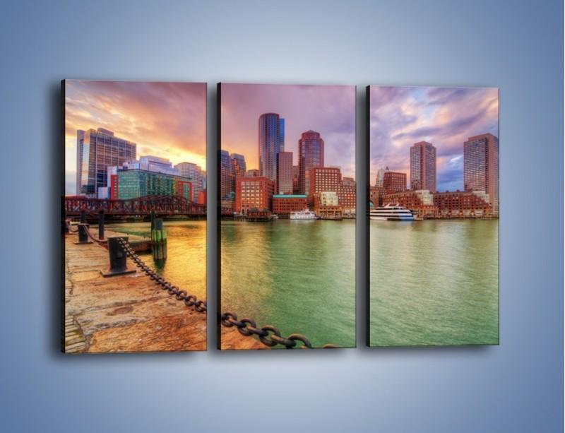 Obraz na płótnie – Widok na centrum Bostonu – trzyczęściowy AM486W2