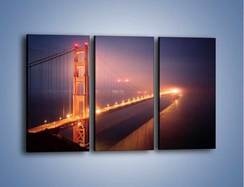 Obraz na płótnie – Most Golden Gate w nocnej mgle – trzyczęściowy AM490W2