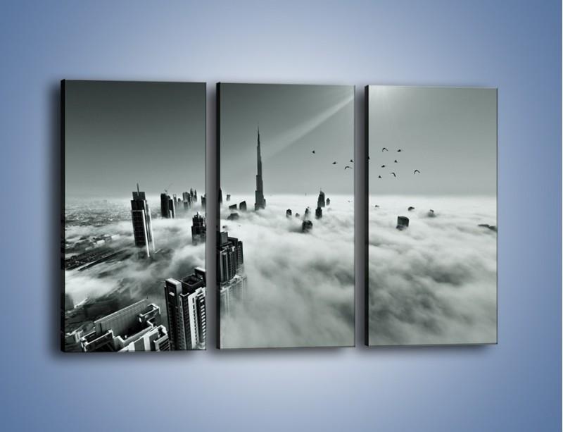 Obraz na płótnie – Centrum Dubaju we mgle – trzyczęściowy AM502W2