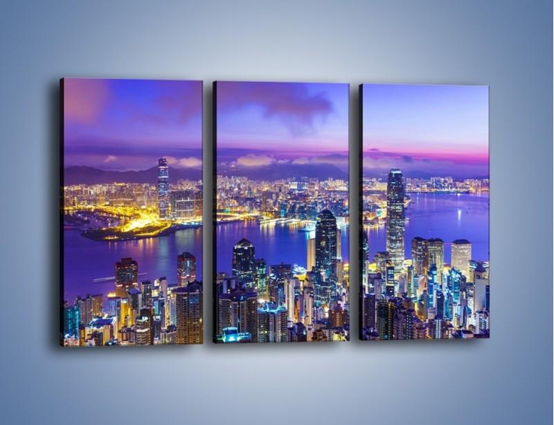 Obraz na płótnie – Wieczorna panorama Hong Kongu – trzyczęściowy AM505W2