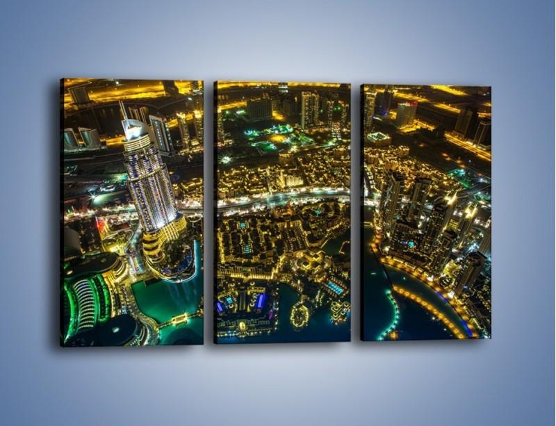 Obraz na płótnie – Dubaj nocą z lotu ptaka – trzyczęściowy AM507W2