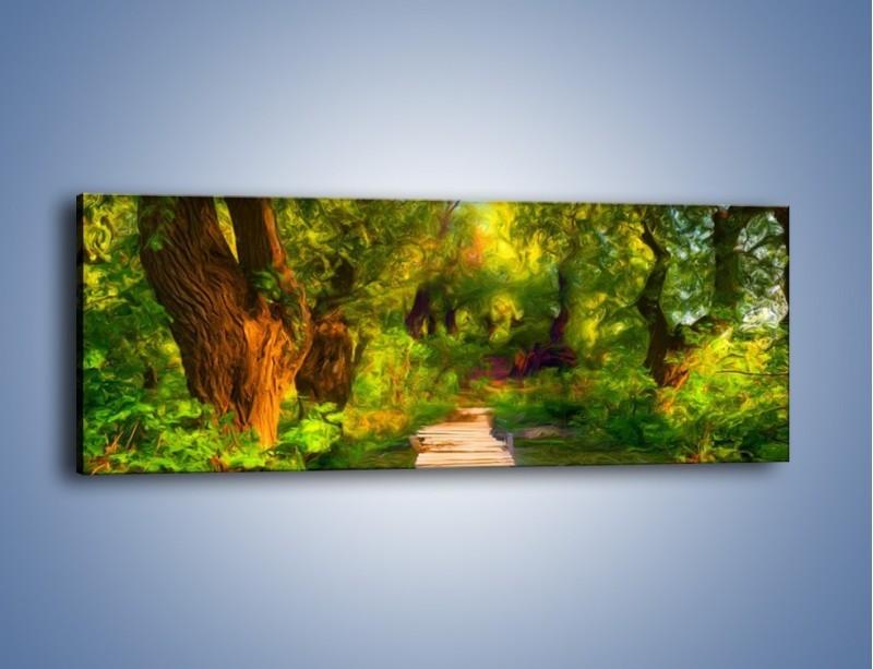 Obraz na płótnie – Drewniana kładka przez las – jednoczęściowy panoramiczny GR007