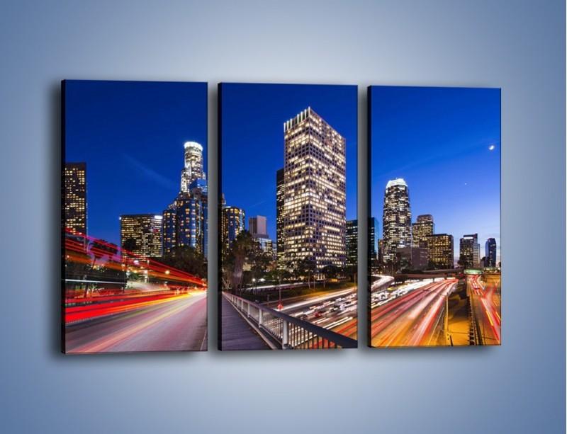 Obraz na płótnie – Los Angeles w wieczornych światłach – trzyczęściowy AM522W2