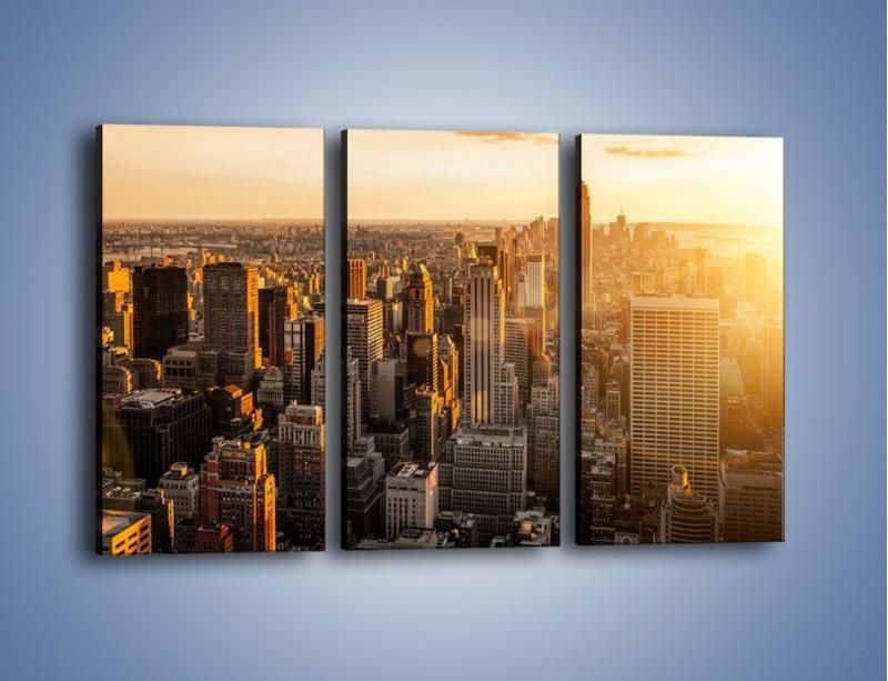 Obraz na płótnie – Zachód słońca nad Nowym Jorkiem – trzyczęściowy AM550W2