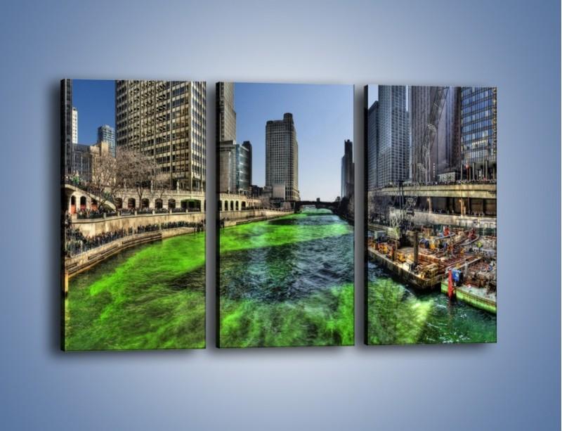 Obraz na płótnie – Chicago River w Dzień św. Patryka – trzyczęściowy AM605W2