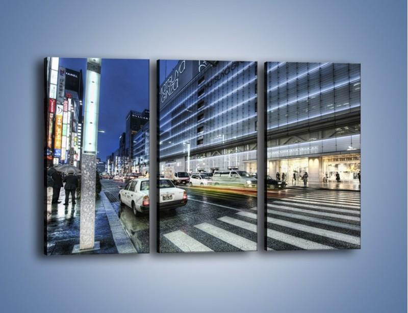 Obraz na płótnie – Ulica Tokyo w deszczu – trzyczęściowy AM613W2