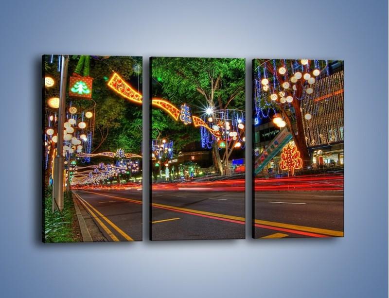 Obraz na płótnie – Noworoczne dekoracje w Singapurze – trzyczęściowy AM616W2