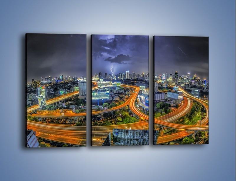 Obraz na płótnie – Burza nad Bangkokiem – trzyczęściowy AM622W2