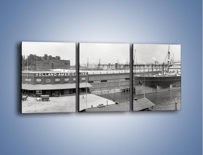 Obraz na płótnie – Amerykańskie doki na początku XX wieku – trzyczęściowy AM641W2