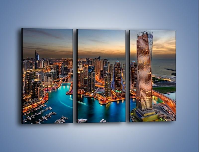 Obraz na płótnie – Centrum Dubaju wieczorową porą – trzyczęściowy AM656W2