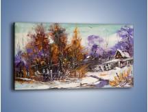 Obraz na płótnie – Domki zimową porą – jednoczęściowy panoramiczny GR023