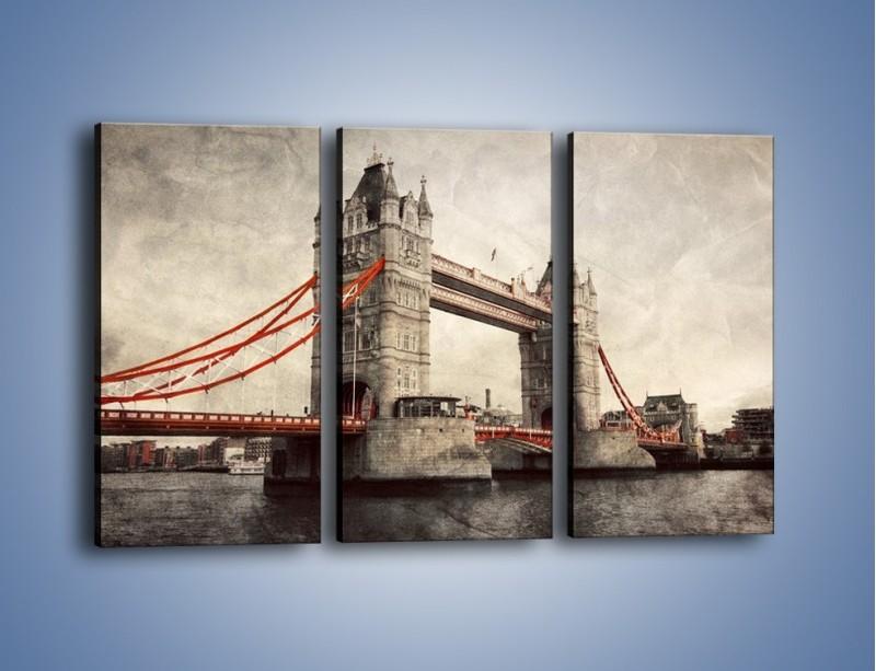 Obraz na płótnie – Tower Bridge w stylu vintage – trzyczęściowy AM668W2