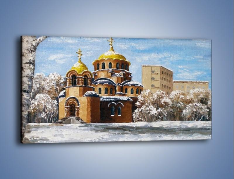 Obraz na płótnie – Cerkiew w trakcie zimy – jednoczęściowy panoramiczny GR024