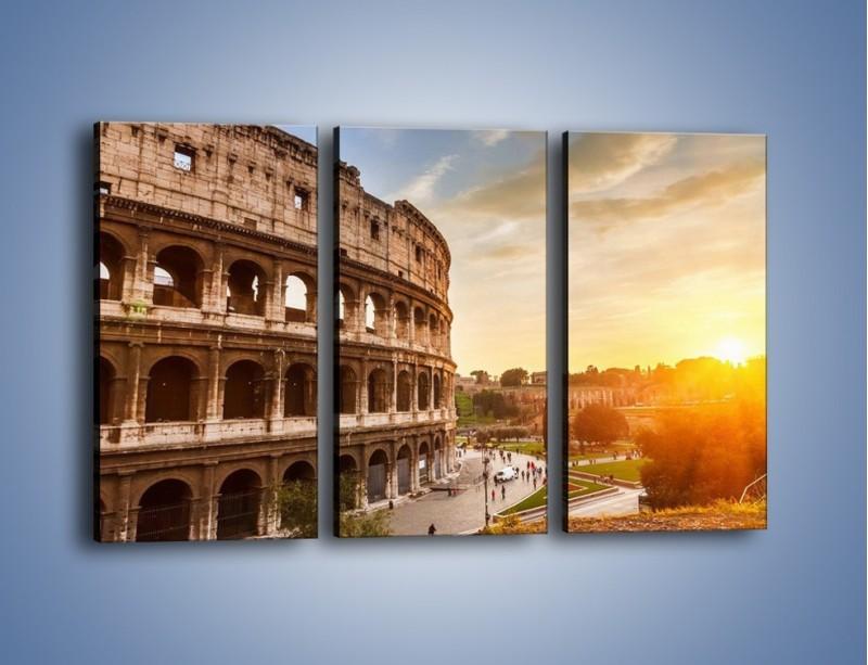 Obraz na płótnie – Rzymskie Koloseum o zachodzie słońca – trzyczęściowy AM684W2