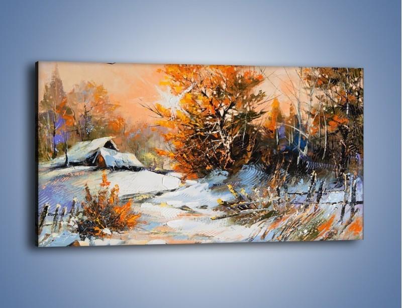 Obraz na płótnie – Zimowy klimat na wsi – jednoczęściowy panoramiczny GR027