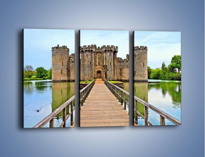 Obraz na płótnie – Zamek Bodiam w Wielkiej Brytanii – trzyczęściowy AM692W2
