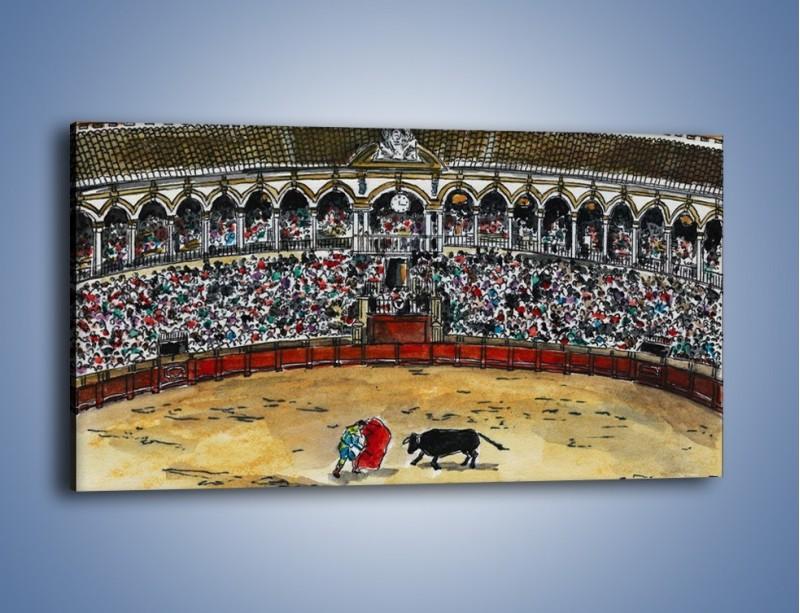 Obraz na płótnie – Walka torreadora z bykiem – jednoczęściowy panoramiczny GR040