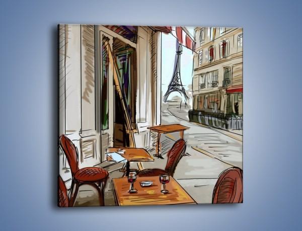 Obraz na płótnie – Lampka wina w paryżu – jednoczęściowy kwadratowy GR260
