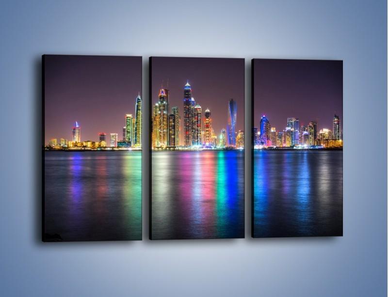 Obraz na płótnie – Kolorowe drapacze chmur w Dubaju – trzyczęściowy AM724W2