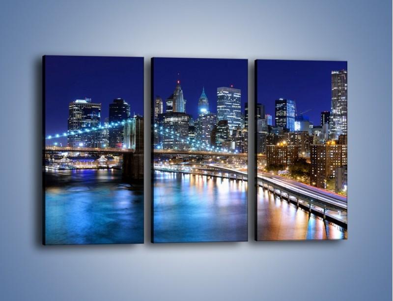 Obraz na płótnie – Nocne światła Nowego Yorku – trzyczęściowy AM726W2