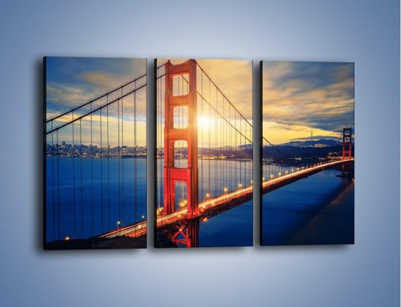 Obraz na płótnie – Zachód słońca nad Mostem Golden Gate – trzyczęściowy AM738W2
