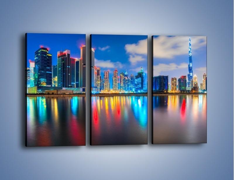 Obraz na płótnie – Kolory Dubaju odbite w wodzie – trzyczęściowy AM740W2