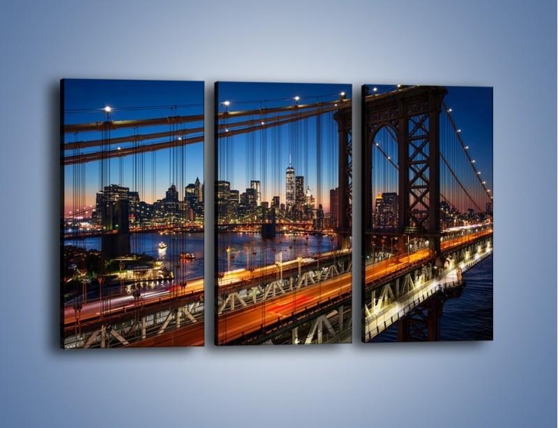 Obraz na płótnie – Nowojorskie mosty na tle Manhattanu – trzyczęściowy AM751W2