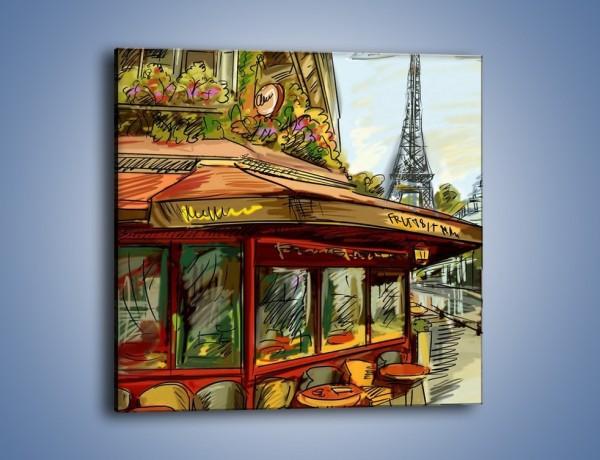 Obraz na płótnie – Paryskie kawiarenki pod daszkiem – jednoczęściowy kwadratowy GR261