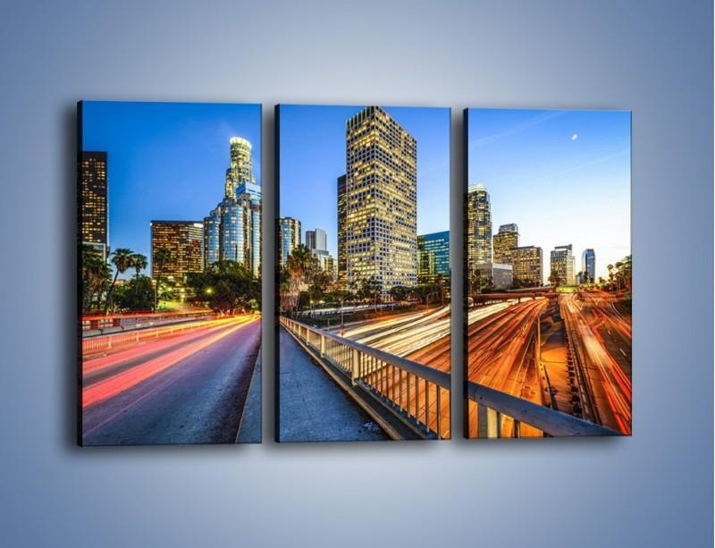 Obraz na płótnie – Światła Los Angeles o zmierzchu – trzyczęściowy AM753W2