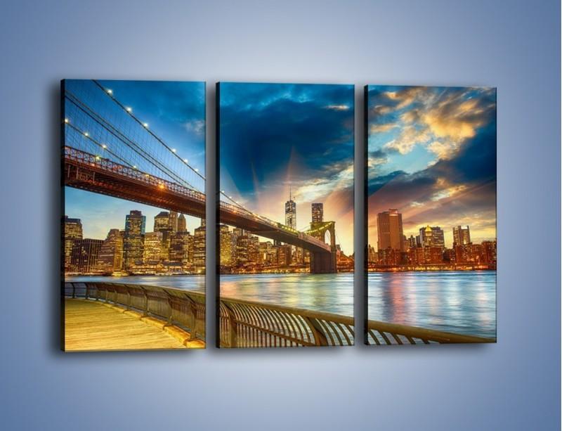 Obraz na płótnie – Most w Nowym Jorku o zmierzchu – trzyczęściowy AM754W2