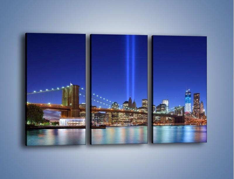 Obraz na płótnie – Świetlne kolumny w Nowym Jorku – trzyczęściowy AM757W2