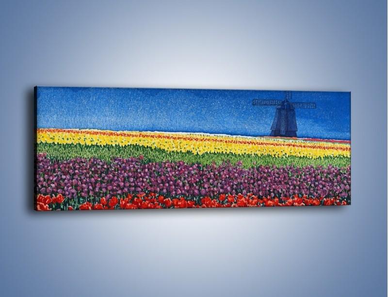 Obraz na płótnie – Spacer przez kolorowe maki – jednoczęściowy panoramiczny GR049