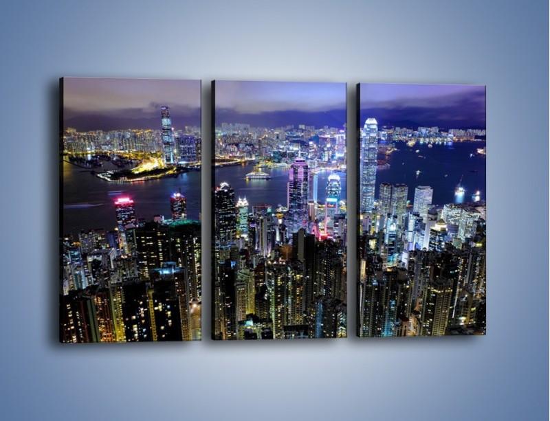 Obraz na płótnie – Nocna panorama Hong Kongu – trzyczęściowy AM772W2