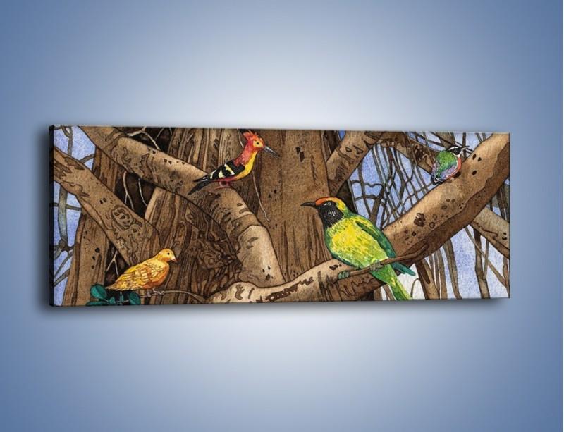 Obraz na płótnie – Mali przyjaciele na drzewie – jednoczęściowy panoramiczny GR050