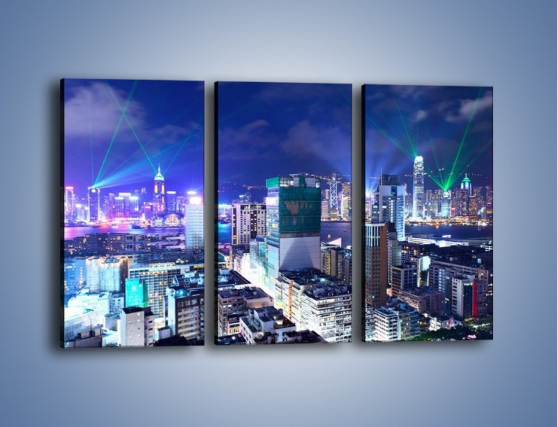 Obraz na płótnie – Pokaz laserów nad Hong Kongiem – trzyczęściowy AM796W2