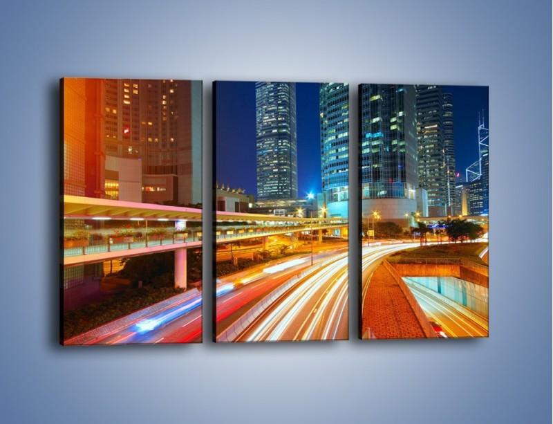 Obraz na płótnie – Nocne kolory miasta – trzyczęściowy AM808W2