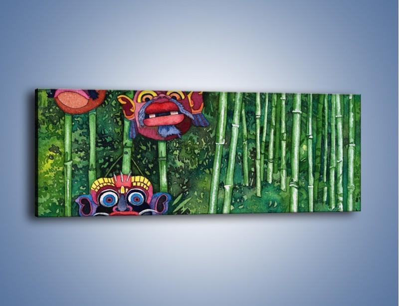 Obraz na płótnie – Maski dzikiego plemienia – jednoczęściowy panoramiczny GR051