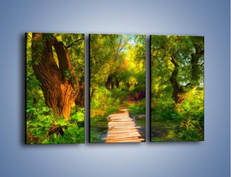 Obraz na płótnie – Drewniana kładka przez las – trzyczęściowy GR007W2
