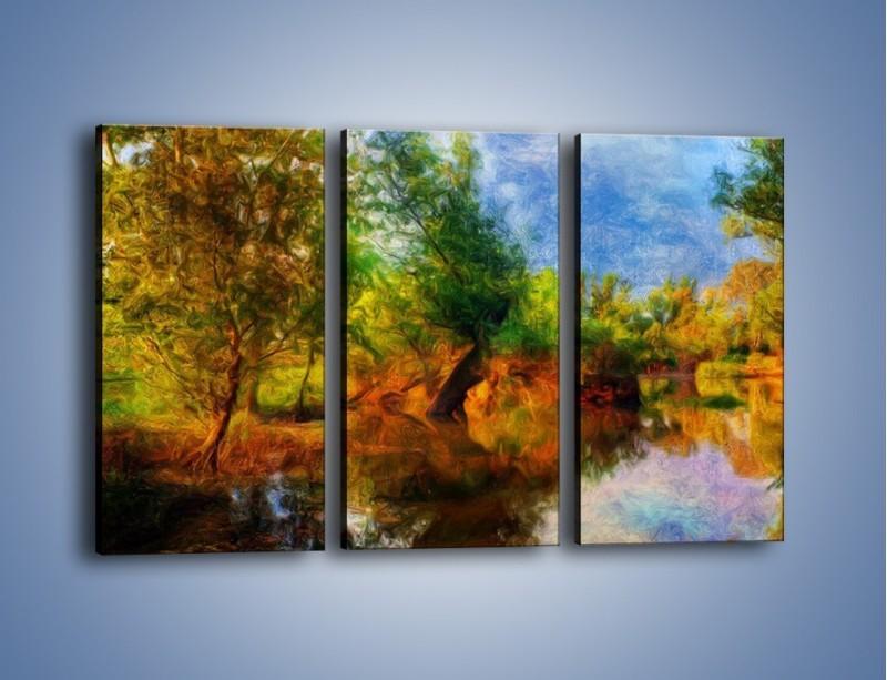 Obraz na płótnie – Drzewa w wodnym lustrze – trzyczęściowy GR010W2