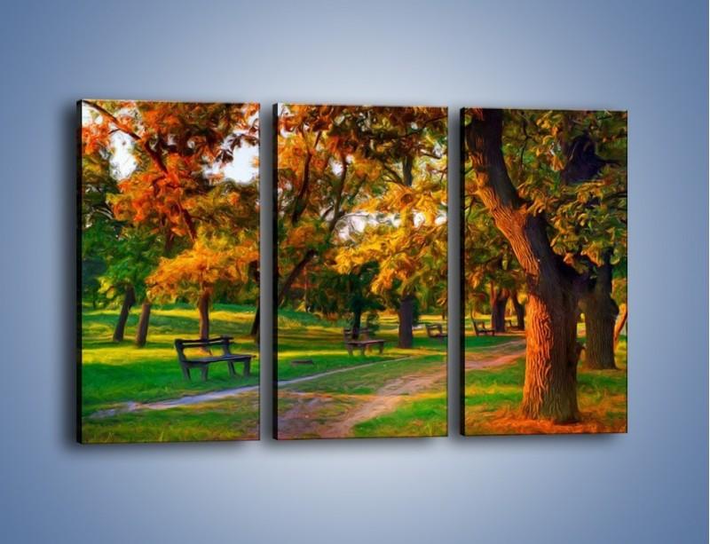 Obraz na płótnie – Ławeczka w parku – trzyczęściowy GR011W2