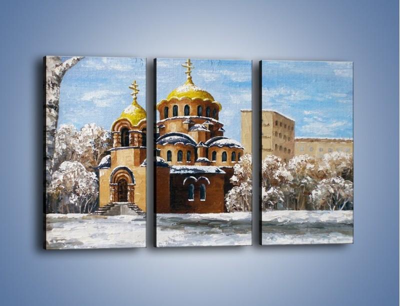 Obraz na płótnie – Cerkiew w trakcie zimy – trzyczęściowy GR024W2