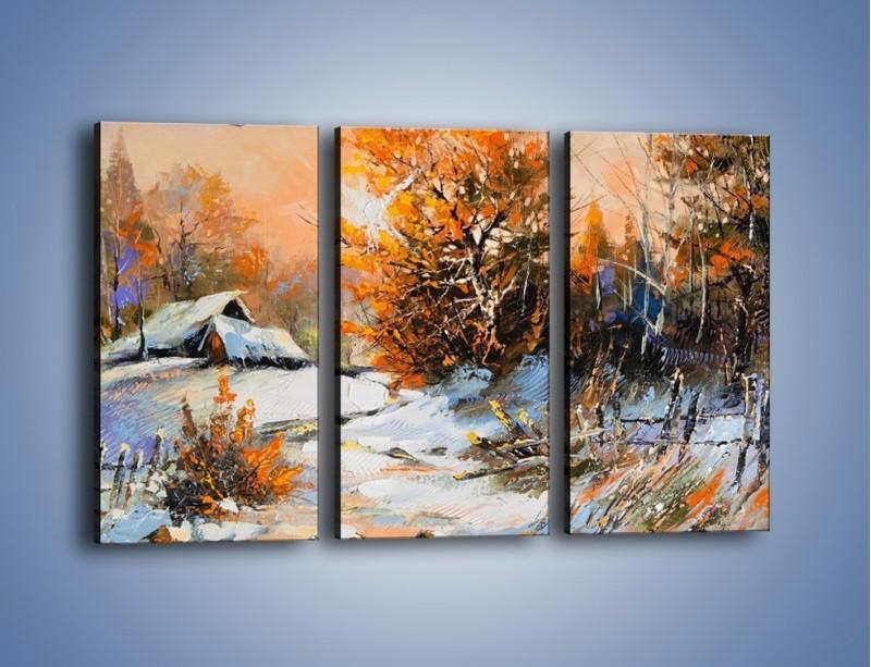 Obraz na płótnie – Zimowy klimat na wsi – trzyczęściowy GR027W2