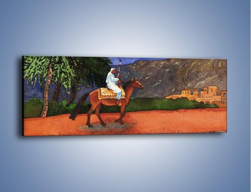 Obraz na płótnie – Arabski szejk na koniu – jednoczęściowy panoramiczny GR052