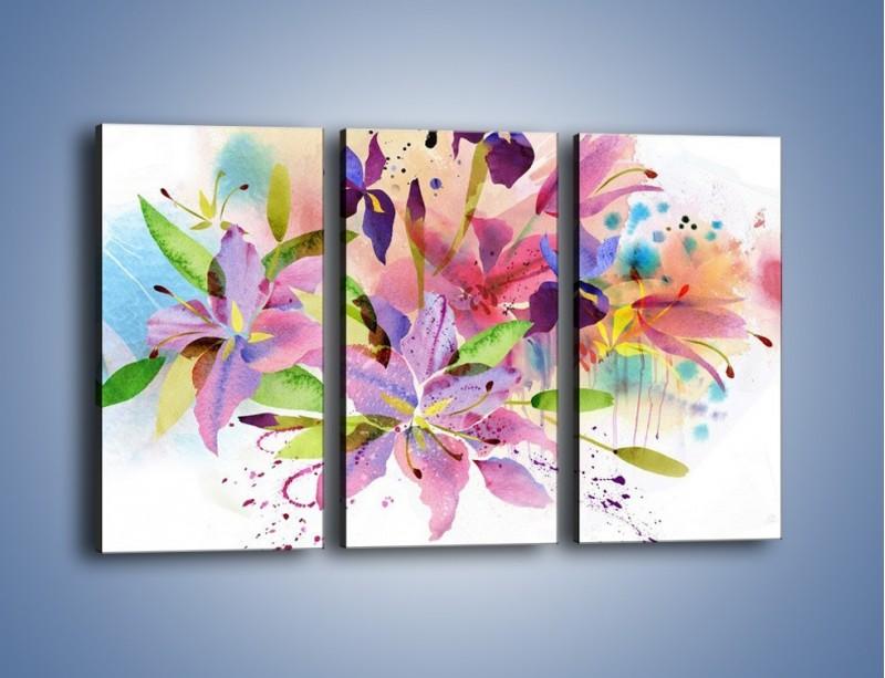 Obraz na płótnie – Kolory zachowane w kwiatach – trzyczęściowy GR043W2