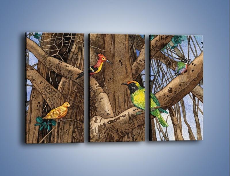 Obraz na płótnie – Mali przyjaciele na drzewie – trzyczęściowy GR050W2