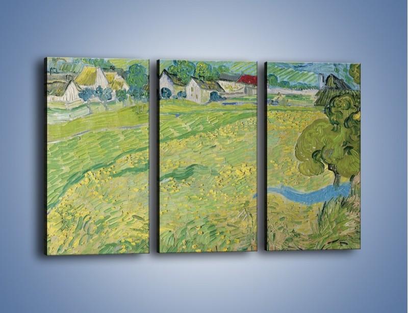 Obraz na płótnie – Łąka i małe domki – trzyczęściowy GR105W2