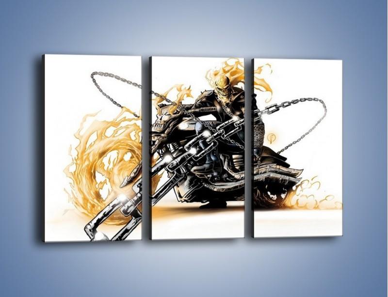 Obraz na płótnie – Mroczna postać na motorze – trzyczęściowy GR167W2