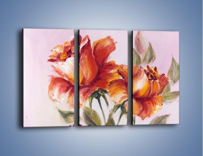 Obraz na płótnie – Kwiaty na płótnie malowane – trzyczęściowy GR322W2