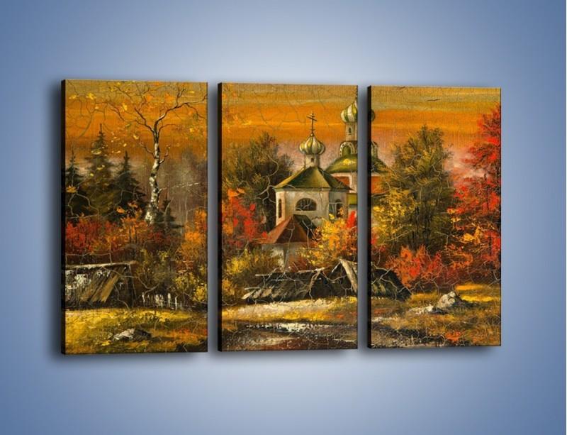 Obraz na płótnie – Kaplica późną jesienią – trzyczęściowy GR369W2