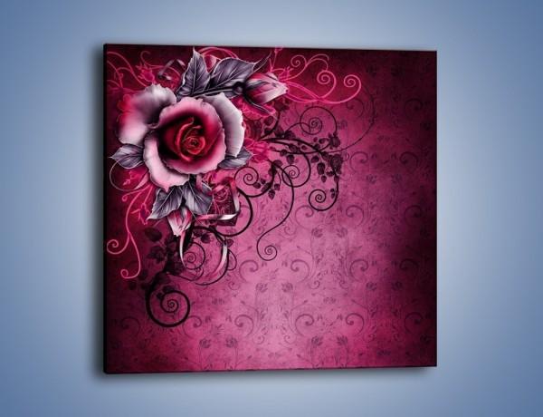Obraz na płótnie – Róża i purpur – jednoczęściowy kwadratowy GR272